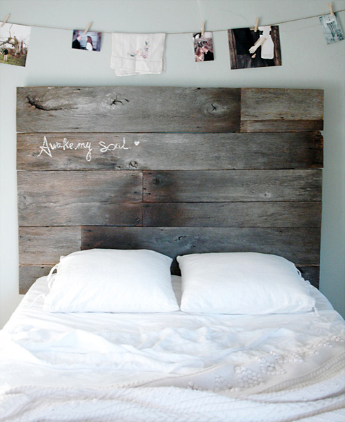 reclaimed wood headboard diy