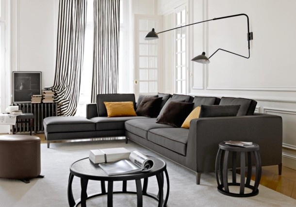 contemporary-home-decor-decorating-ideas-modern-modern-wall-lamp-gray-sectional-black-trim-plus-elegant-black-and-white-stripe-curtain-and-contemporary-wooden-table-furniture
