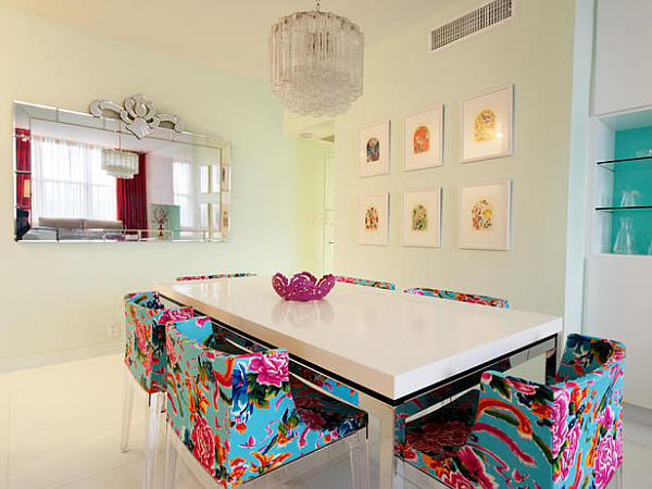 Floral-patterned-neon-chairs-in-dining-room-decor
