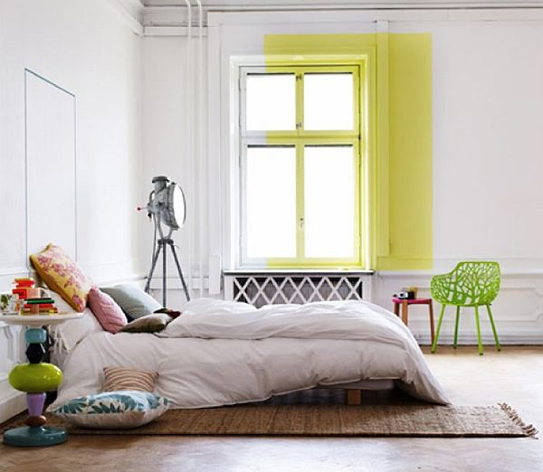 neon-colored-bedroom-design-and-white-color-ideas-wall-decor