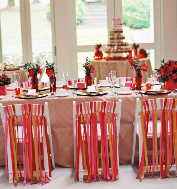 Pink-and-Red-Wedding-Ribbon-Decor