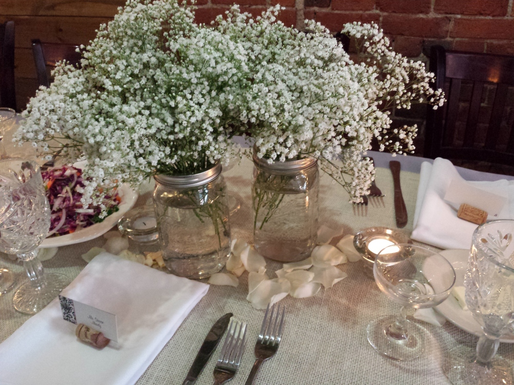 babys breath in mason jar centerpieces