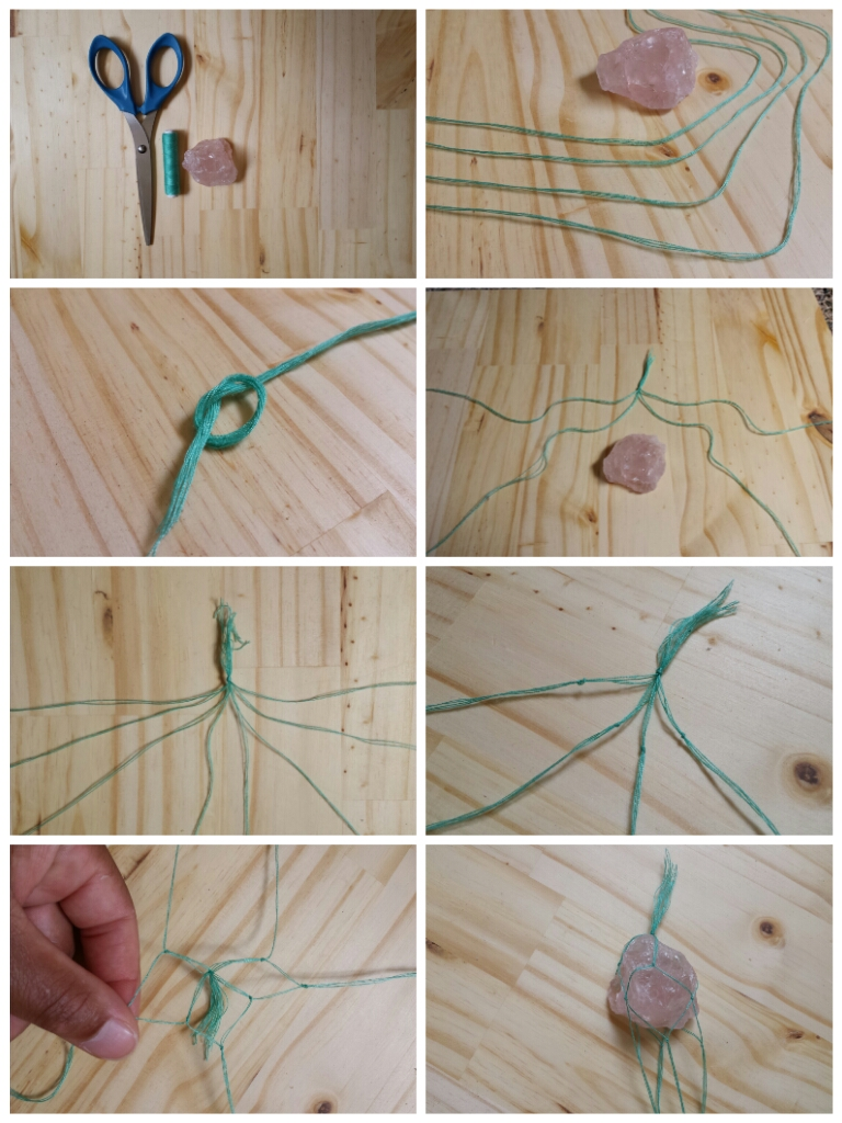 DIY Macrame Stone Necklace Steps