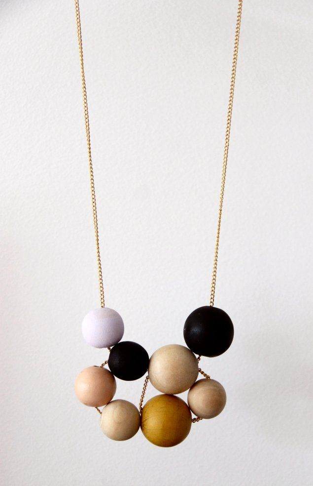 DIY Geometric Wooden Bead Necklace