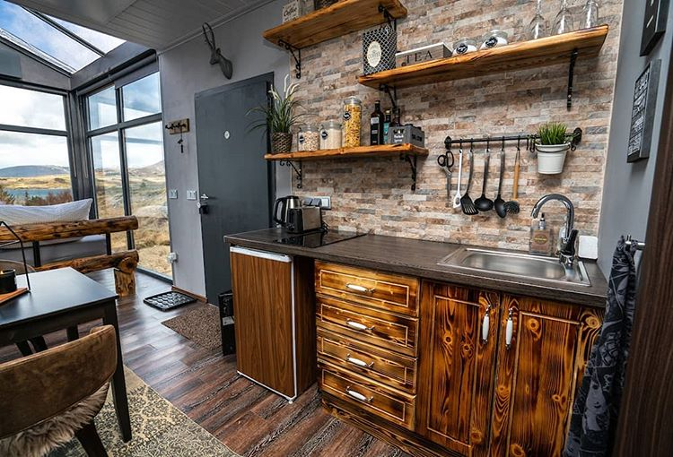 Quaint Kitchen in the Panorama Glass Lodge - Iceland