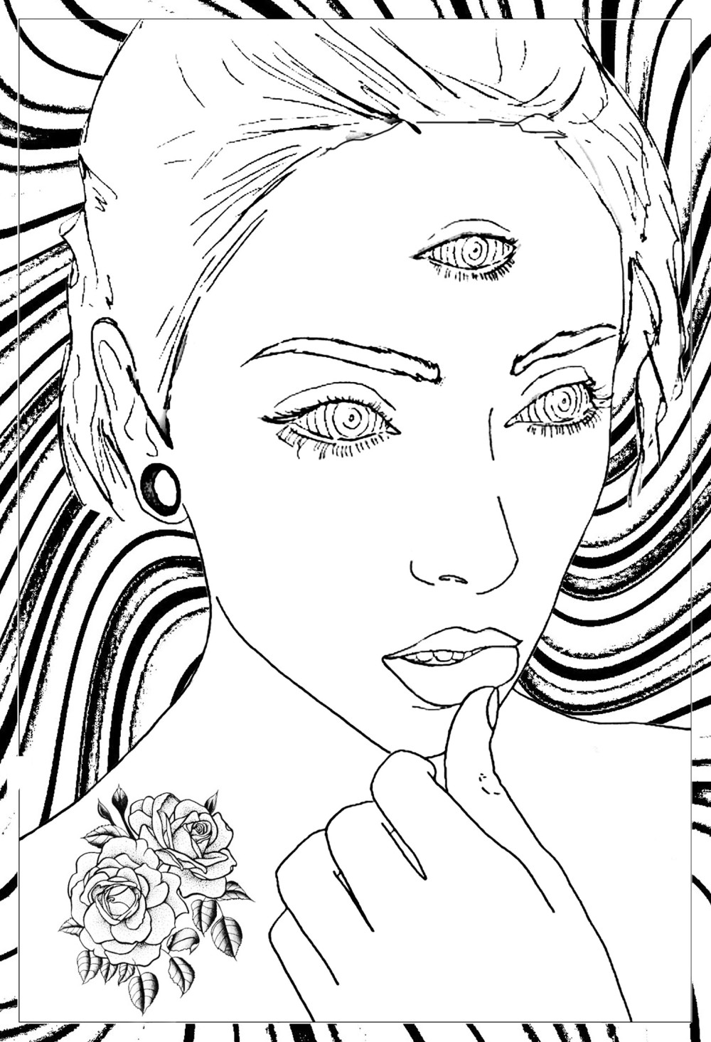 coloring-page-adult-thoughtful-woman