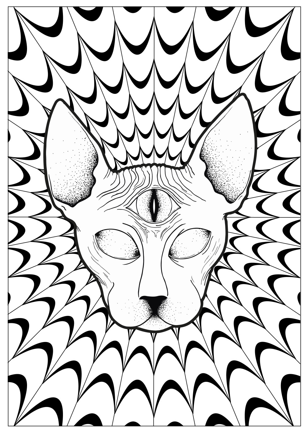 coloring-pages-cat-psychedelic-sphynx-by-louise