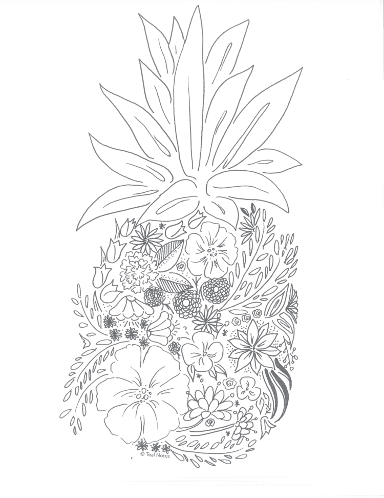 Free-Coloring-Page-Floral-Pineapple-01